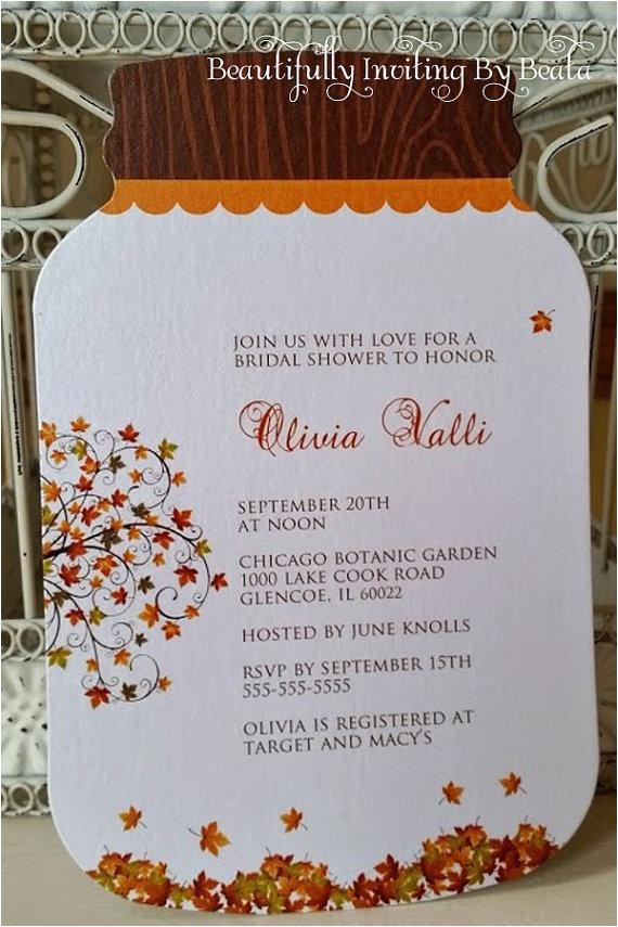 mason jar invitation rustic fall leaves bridal shower invitation custom order for bev