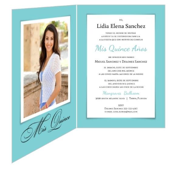 white ribbon turquoise quinceanera invitation 1