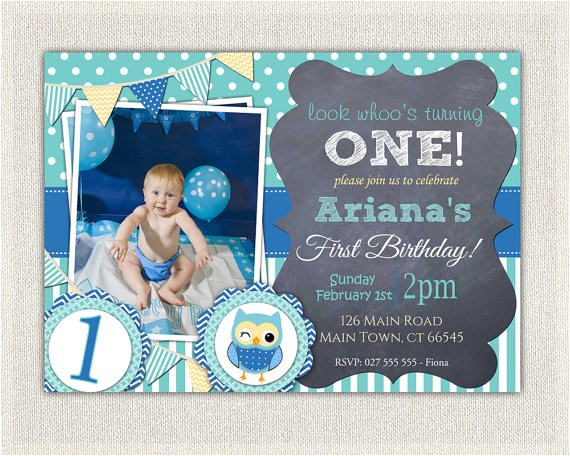 boys blue owl 1st birthday invitation 2