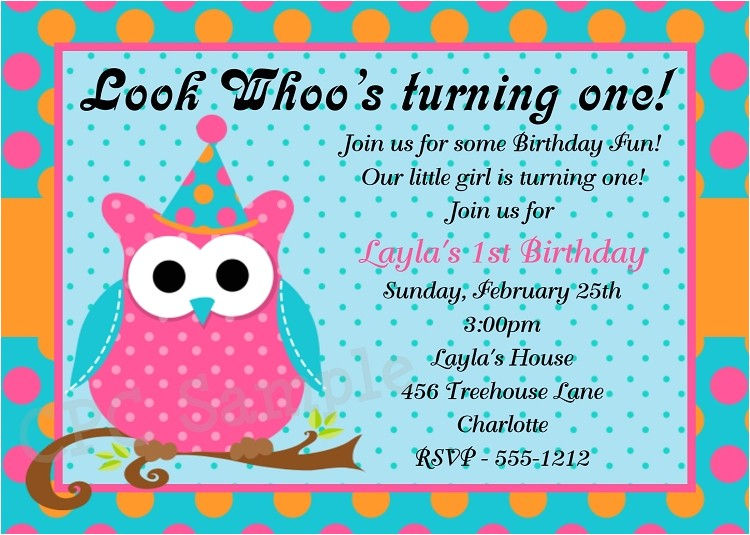 Owl 1st Birthday Party Invitations p 1999