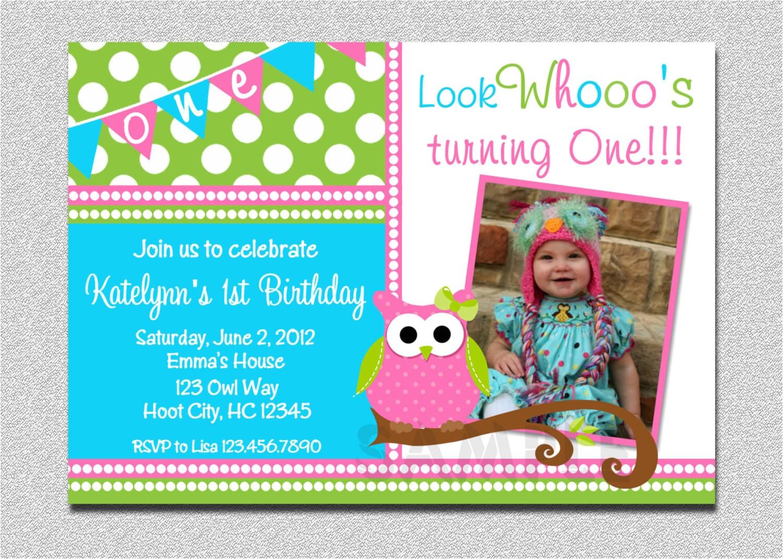 owl birthday invitation pink and green