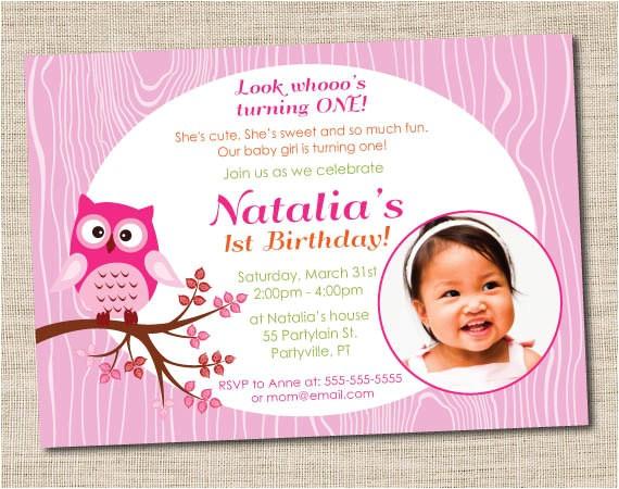 pink owl birthday party invitations