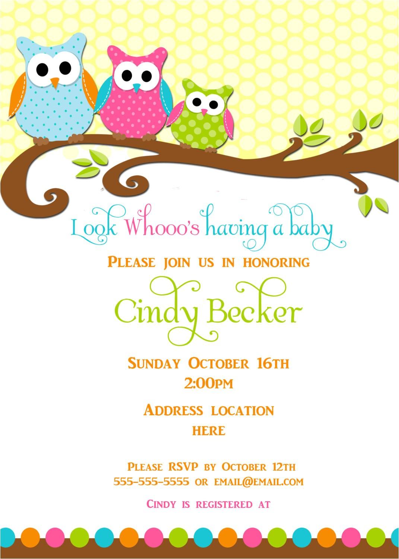 Owl Baby Shower Invitations Etsy Items Similar to Owl Baby Shower Invitation On Etsy