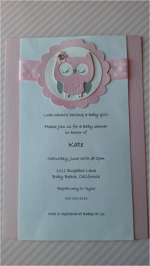 owl theme baby shower invitation