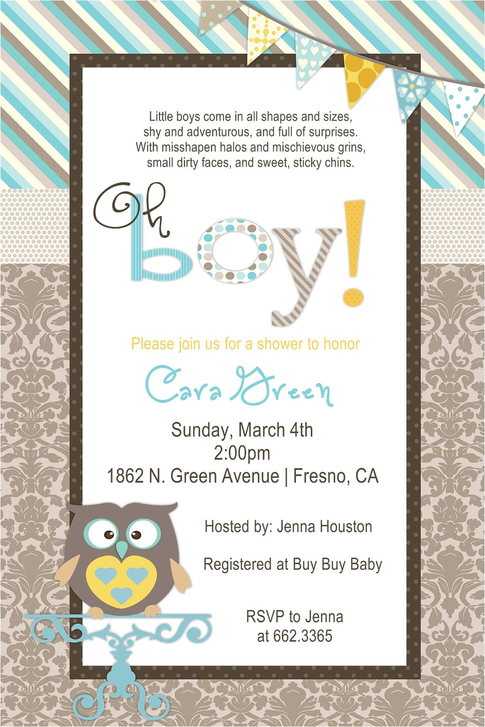 Owl Baby Shower Invitations for Boy Baby Boy Owl Shower Invitation by Beenesprout On Etsy