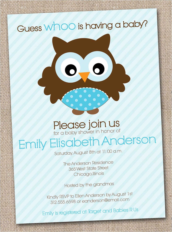 boys baby shower invitation blue owl