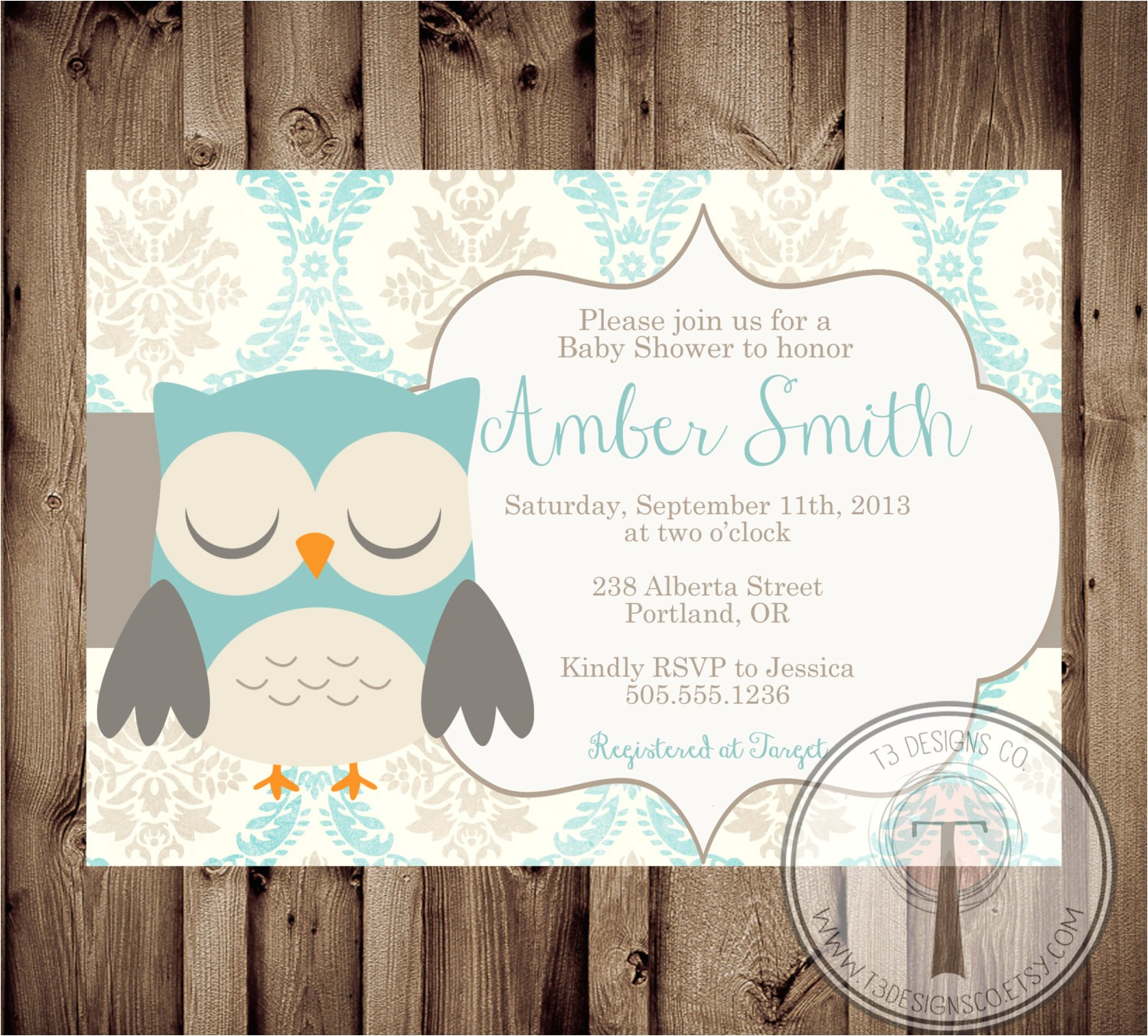 printable baby shower invite owl baby