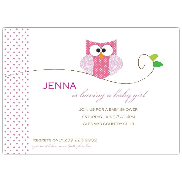 Owl Girl Baby Shower Invitations p 639 75 WD08