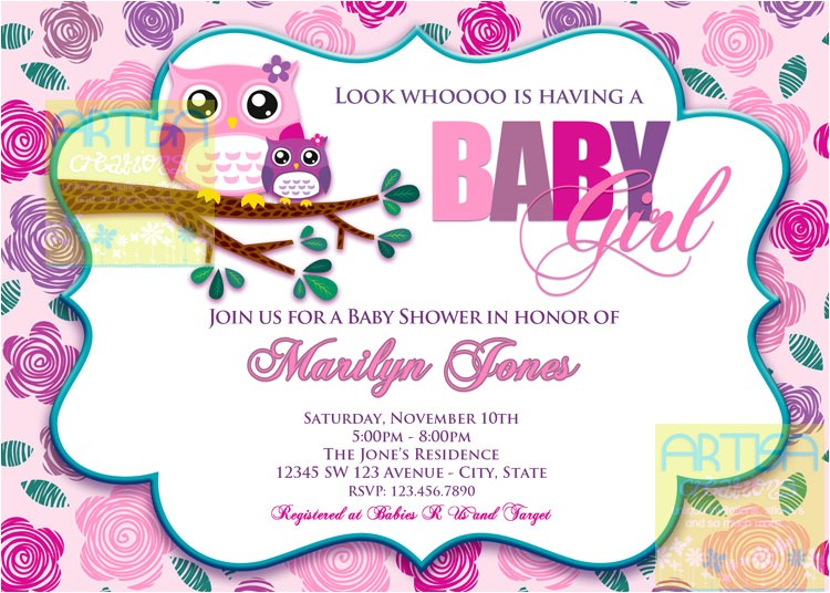 pink owl baby shower invitation owl baby