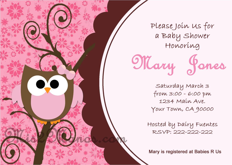 Owl Baby Shower Invitations Free Baby Shower Owl Invitations Printable Pink Owl Custom order