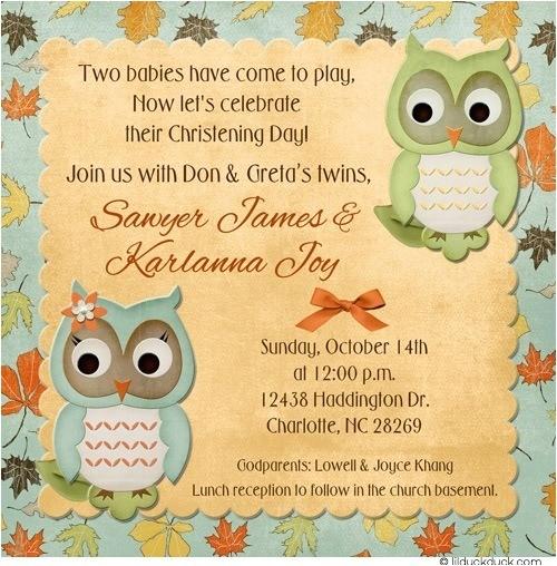baby owl baptism invitation