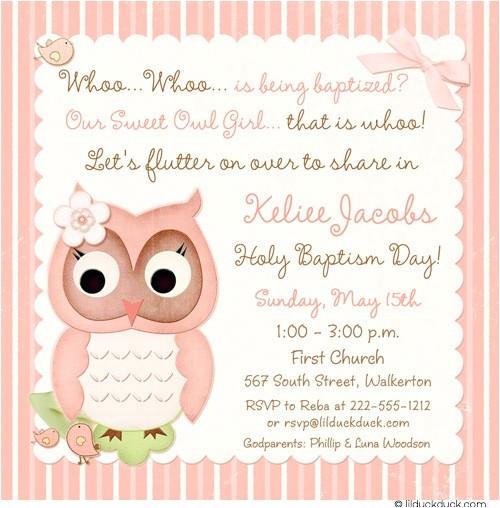 Owl Baptism Invitations Baby Owl Baptism Invitation Religious Cute Hoot Style