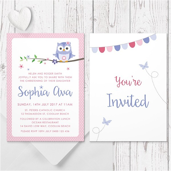 purple owl baptism invitation