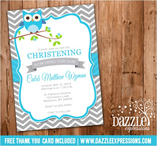 Boy Owl Christening or Baptism Invitation FREE thank you card included