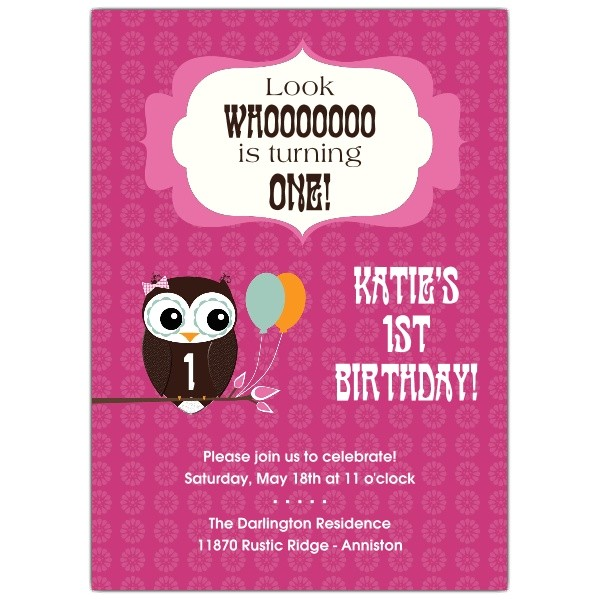 Cheerful Owl Girl 1st Birthday Invitations p 606 57 KD115