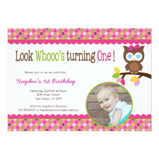 mod owl 1st birthday invitation first party
