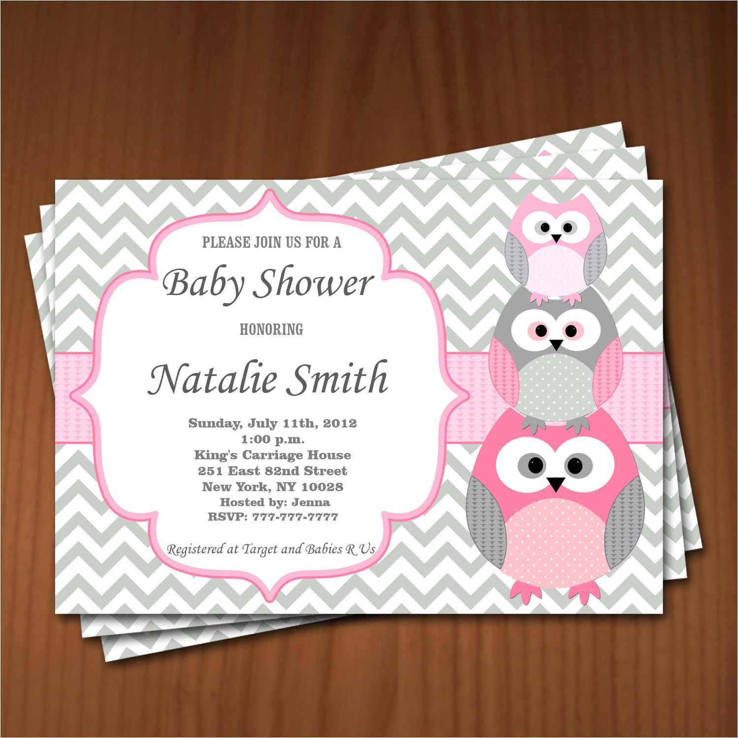 owl baby shower invitation girl baby