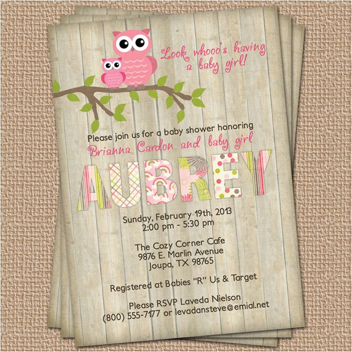 owl baby shower invitation with wood