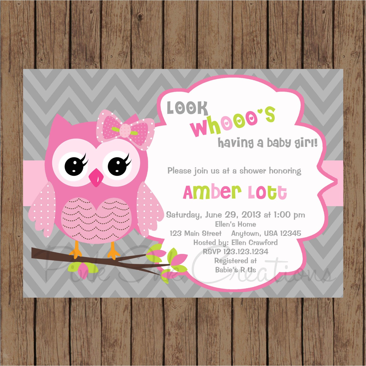 owl birthday invitation pink gray owl