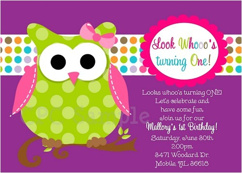 Owl Birthday Invitations Printable Party Invites p 1734