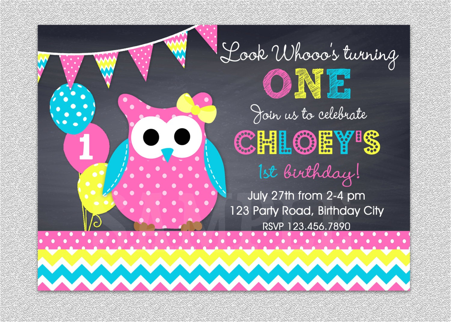 owl birthday invitation chevron owl