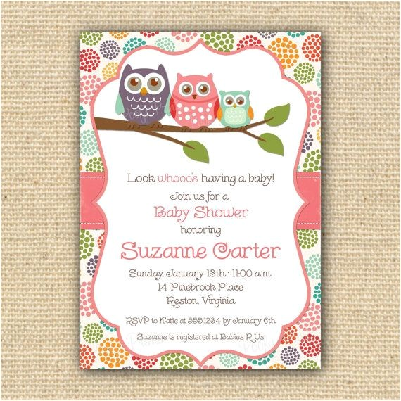 baby owl baby shower invitations