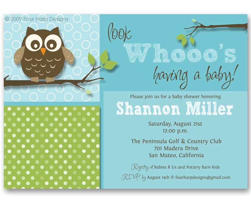baby shower invitations owl theme