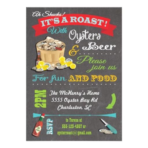 Oyster Roast Birthday Invitations Chalkboard Oyster Roast Party Invitations Zazzle