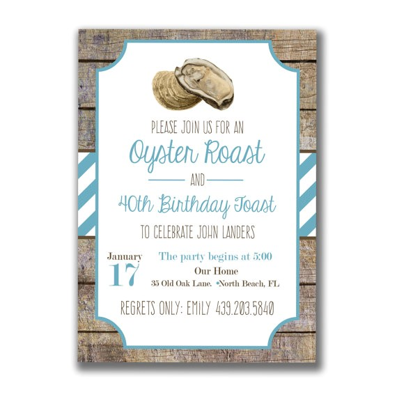 printable oyster roast party invitation