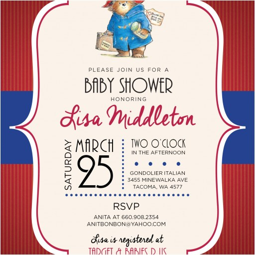 paddington bear custom baby shower invitation