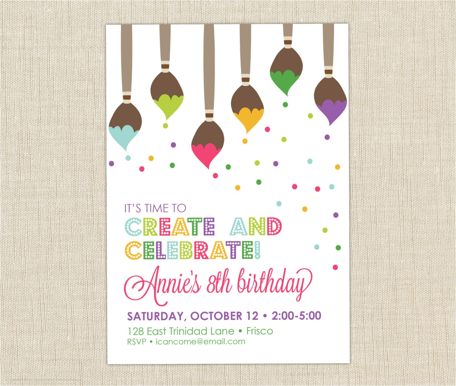 breathtaking painting birthday party invitations