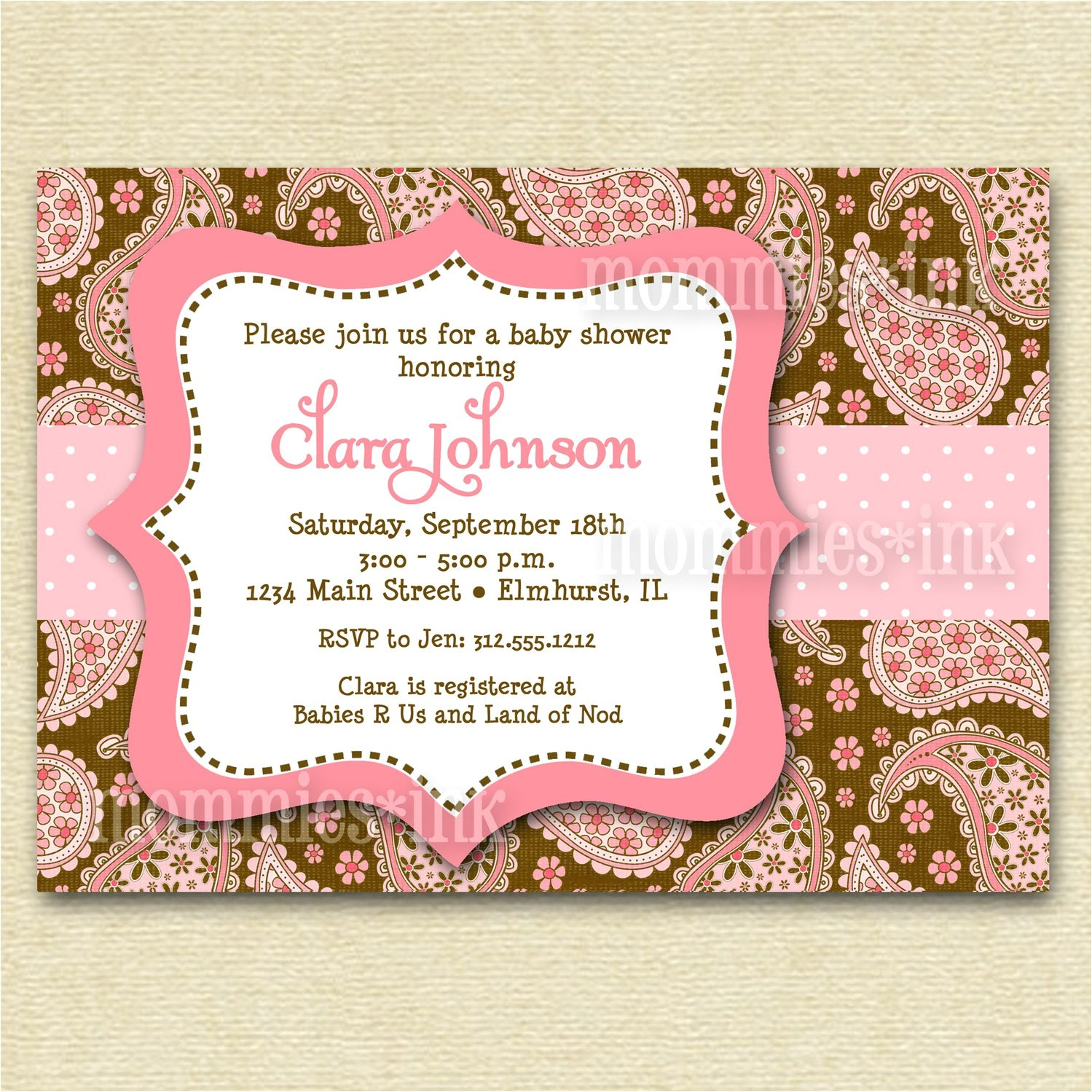pink chocolate paisley baby shower