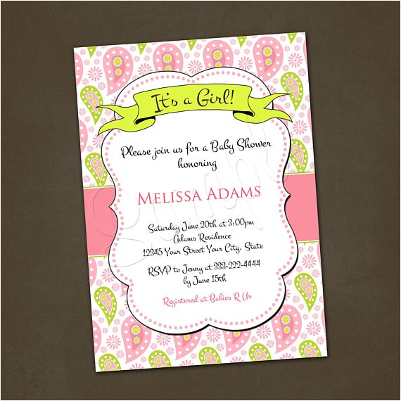 pink paisley baby shower invitations you