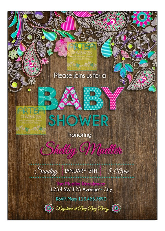 paisley baby shower invitation baby