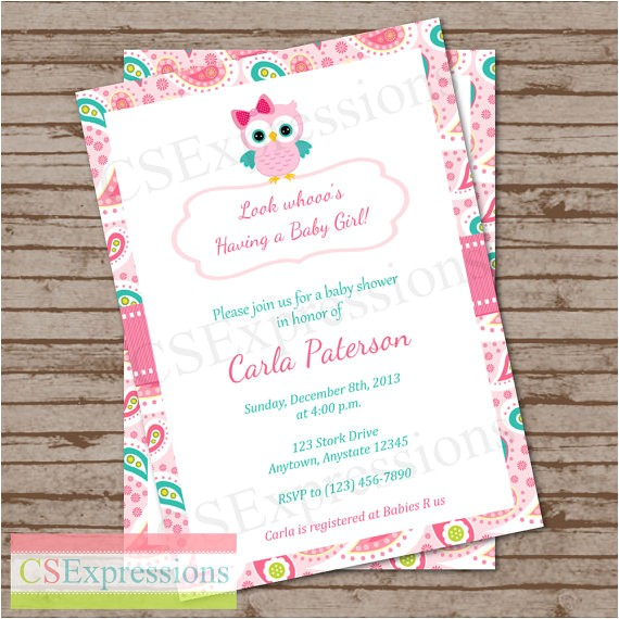 paisley owl baby shower invitation