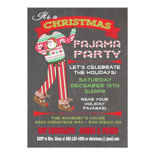 chalkboard christmas pajama party invitations 161642712427001054
