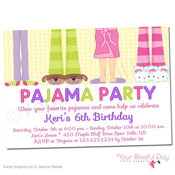 printable girl pajama party invitations