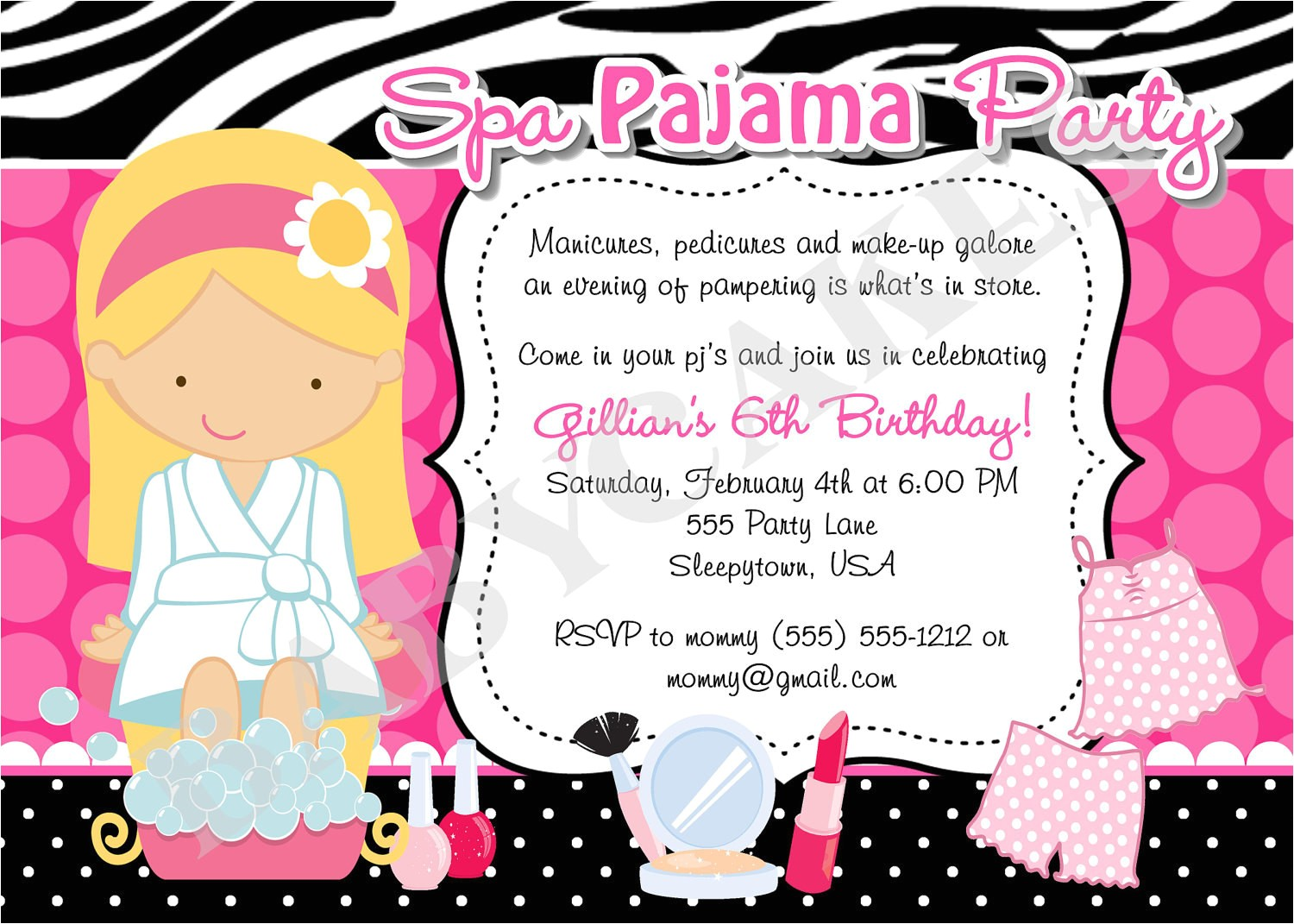 spa pajama party invitation diy print