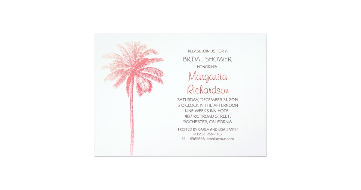 pink palm tree beach bridal shower invitations 161509151530097142