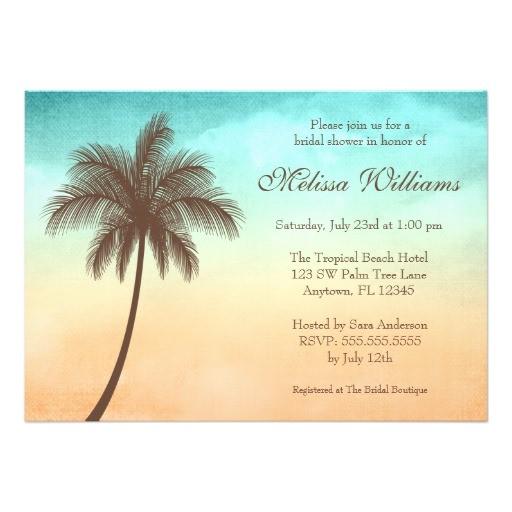 tropical beach palm tree bridal shower invitations 161328954604591680