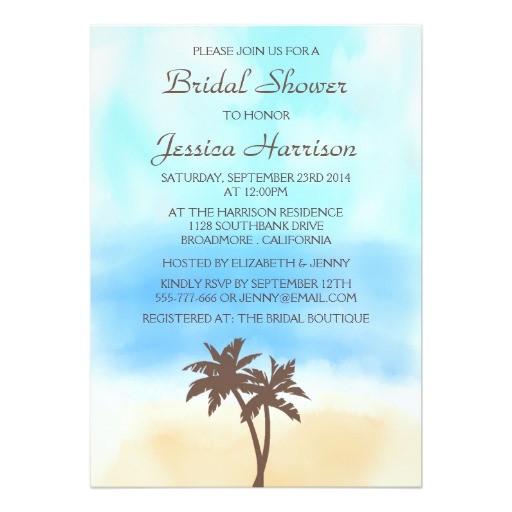 tropical beach palm tree bridal shower invitations 256554103421917126