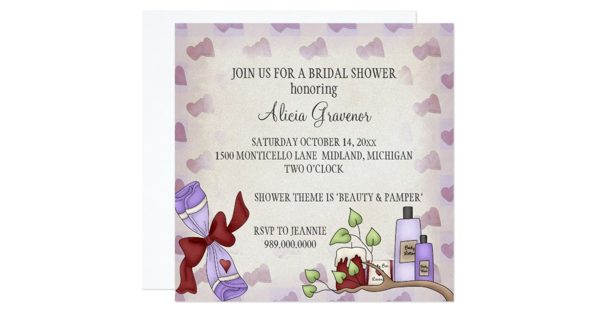 bridal shower invitations beauty pamper theme