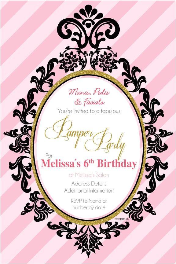 birthday digital printable invitation template pamper party invite