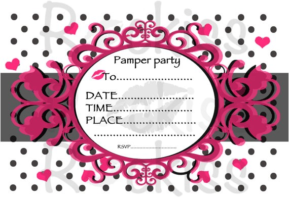 pamper party invitation instant