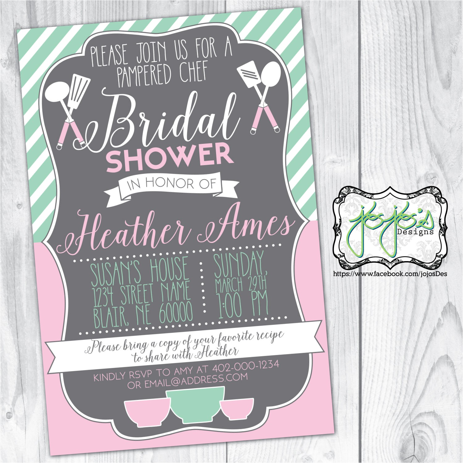 pampered chef bridal shower invitation
