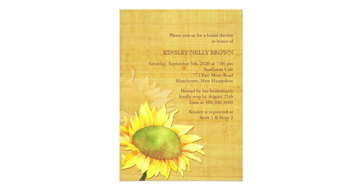 papyrus sunflower rustic fall bridal shower card