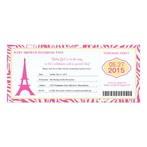 baby shower paris boarding pass invitation