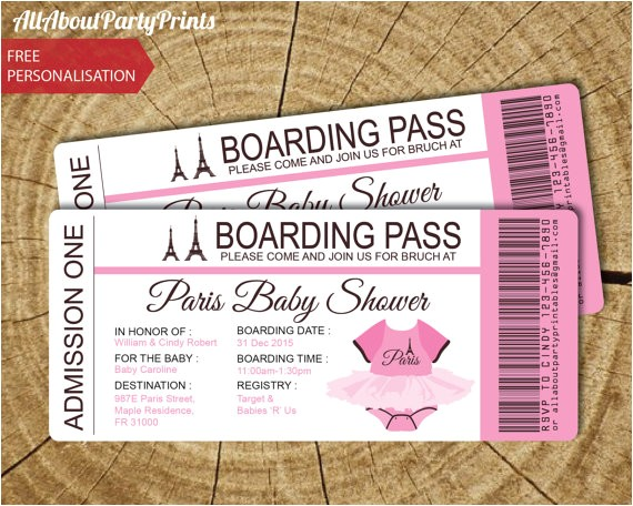 paris baby shower passport boarding pass