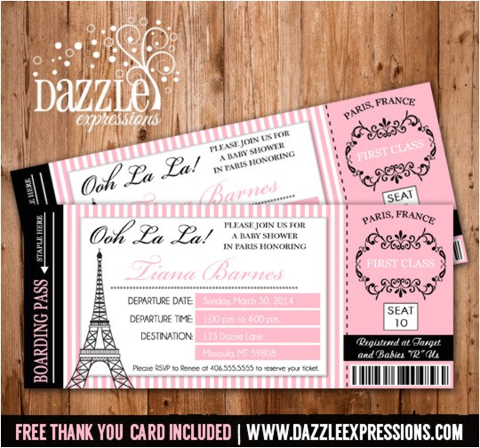 Paris Boarding Pass Invitation Ticket Baby Shower