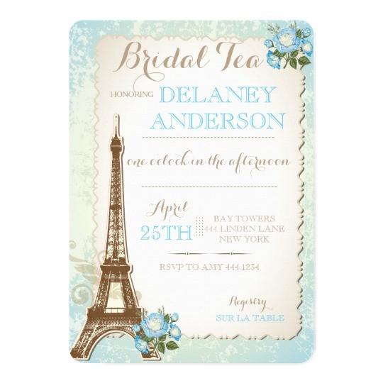 paris bridal shower tea party invitation 256249885959560990